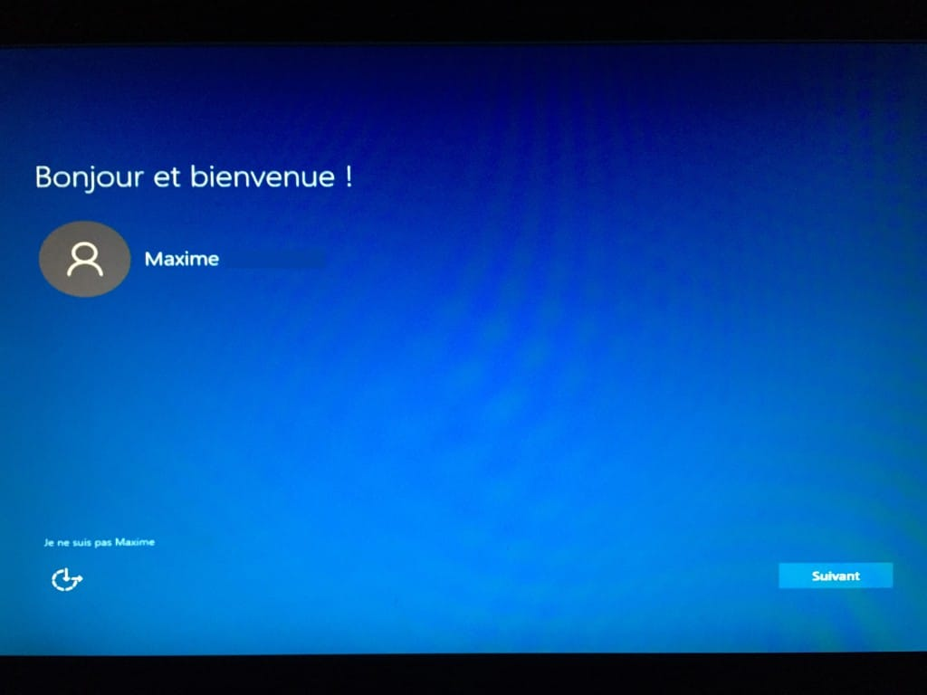 Windows 10 - Ecran de bienvenue