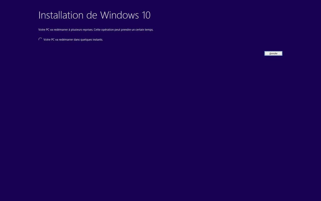 Windows 10 - Installation lancée