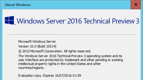 Windows Server 2016 Technical Preview 3 - Version