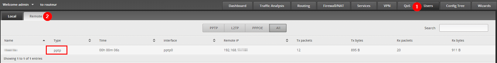 ERL configure a VPN PPTP - users